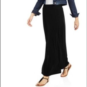 Faded Glory simple black jersey maxi skirt